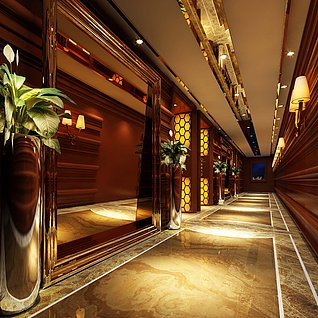 酒店过道整体模型