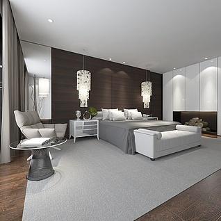 简约大气的酒店卧室整体模型