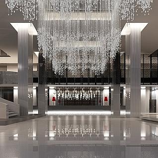 现代奢华酒店大堂效果图整体模型