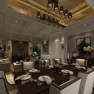 现代奢华客厅餐厅整体模型