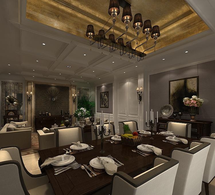 现代奢华客厅餐厅模型