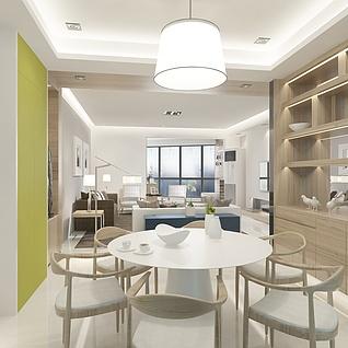 现代客厅餐厅整体模型