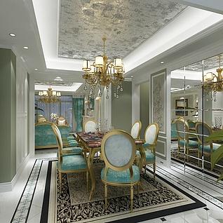 后现代奢华餐厅整体模型