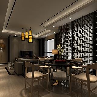 中式客厅餐厅整体模型