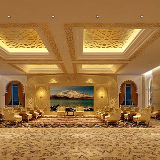 豪华酒店接待厅整体模型