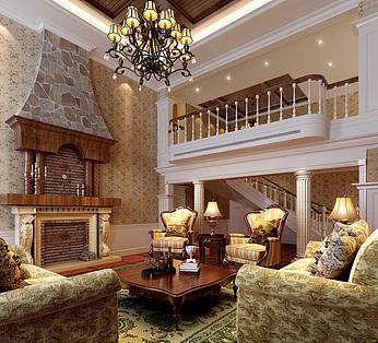 地中海风情别墅客厅