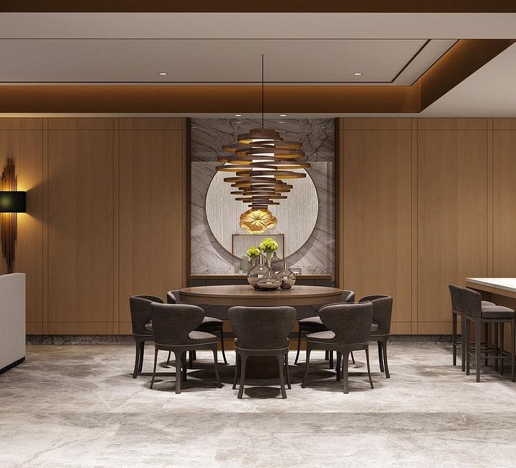 高精度后现代新中式客厅模型
