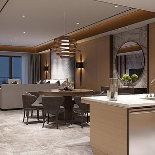 高精度后现代新中式客厅整体模型