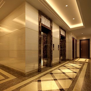 简欧电梯厅整体模型