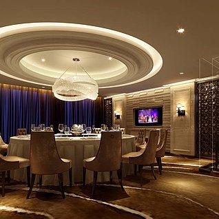 酒店豪华餐厅整体模型