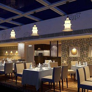 餐厅,卡座整体模型