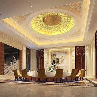 五星酒店餐厅包房整体模型