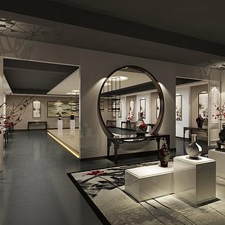 中式陶艺展厅整体模型