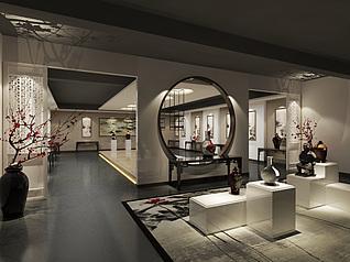 中式陶艺展厅工装模型