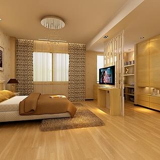 卧室电视隔断效果图整体模型