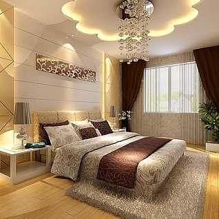 卧室花型吊顶整体模型