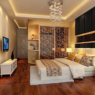 卧室背景设计整体模型