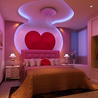 卧室温馨背景墙设计整体模型