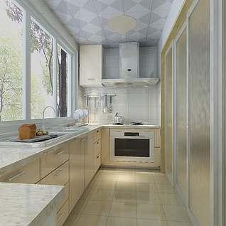 厨房推拉门效果图整体模型
