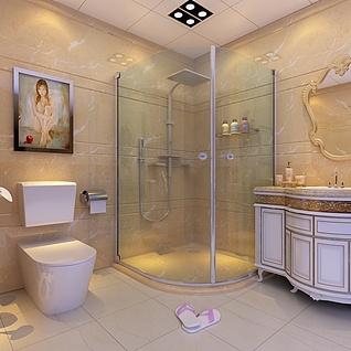 卫生间淋浴房设计整体模型
