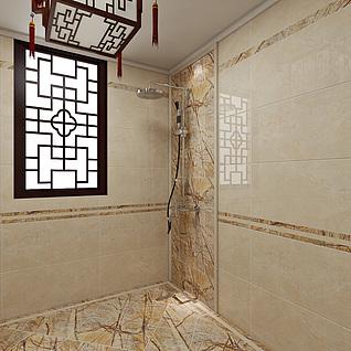 中式卫生间整体模型