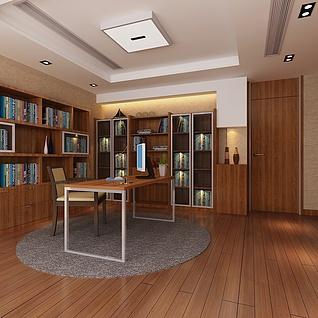 办公楼书房整体模型