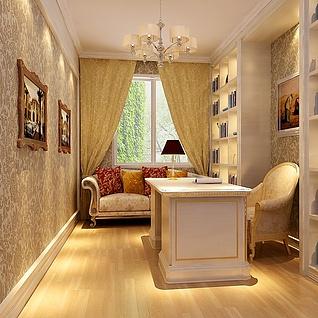 欧式小书房整体模型