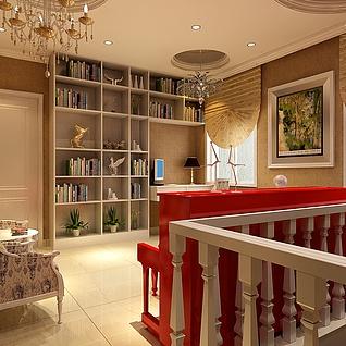 阁楼书房整体模型