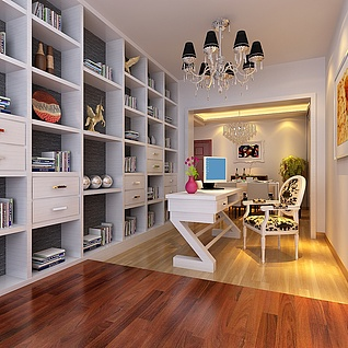 现代开放书房整体模型