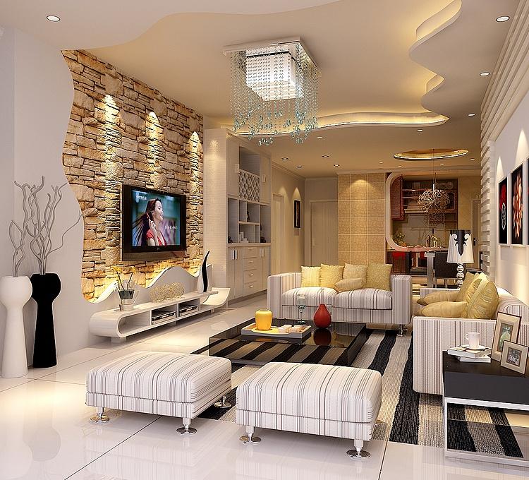 客厅电视背景墙模型