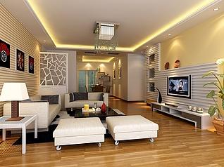 现代客厅家装模型