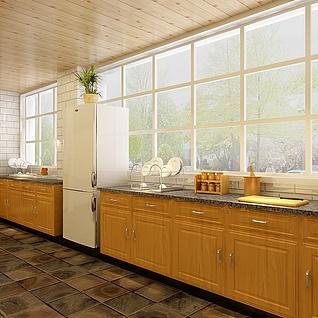 别墅厨房整体模型