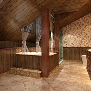 古典卫生间效果图整体模型