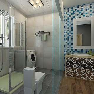 卫生间隔断设计整体模型