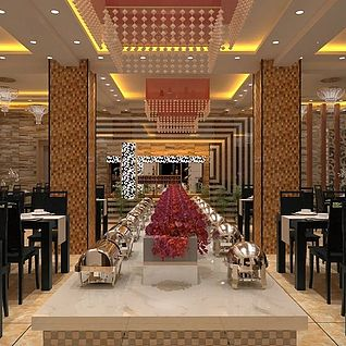 时尚餐厅整体模型