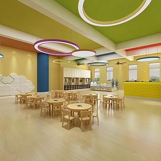 幼儿园餐厅整体模型