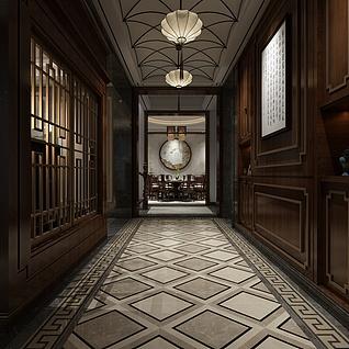 中式走廊整体模型