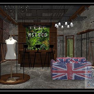 工业风女装专卖店整体模型