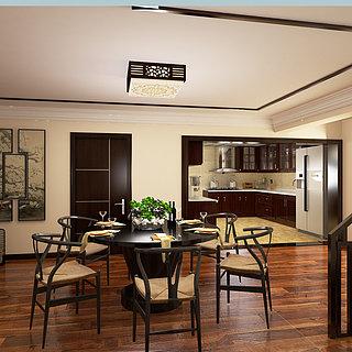 <font class='myIsRed'>新中式</font>餐厅厨房餐厅整体模型