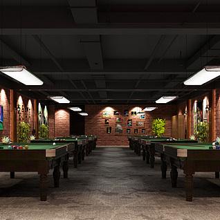 台球厅整体模型
