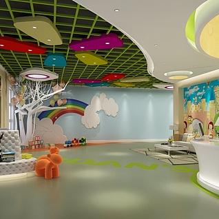 幼儿园接待大厅整体模型