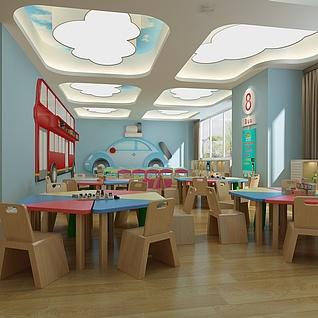 幼儿园教室整体模型