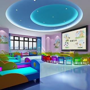 幼儿园休息室整体模型