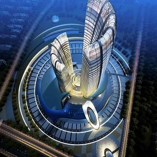 现代商业高层住宅整体模型