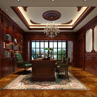 欧式书房整体模型