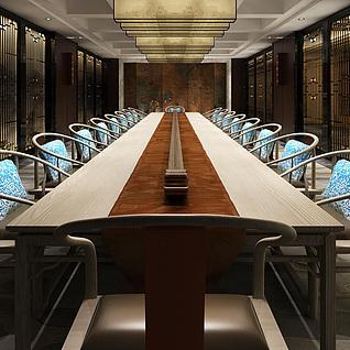 现代中式会议室整体模型
