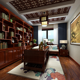 中式书房整体模型