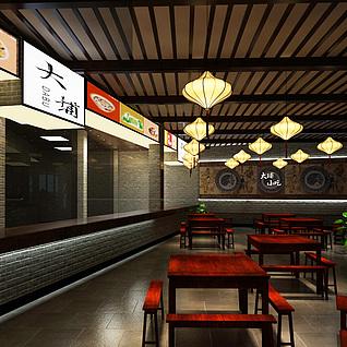 客家风格餐厅整体模型