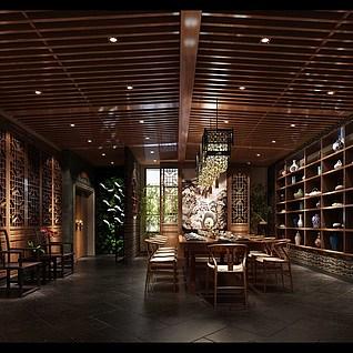 中式会所餐厅整体模型