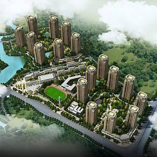 欧式商业住宅小区整体模型